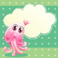A lovable pink monster with an empty cloud template