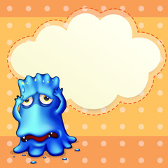 A blue monster feeling down near the empty cloud template