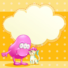 A pink monster and a cat with an empty cloud template