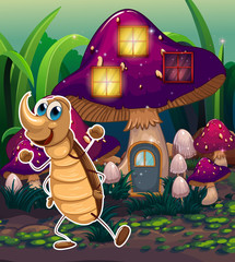 A cockroach near the violet mushroom house