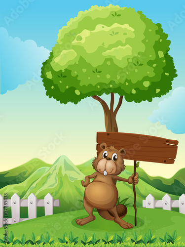 A beaver under the tree with an empty wooden board