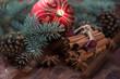 Cinnamon sticks, star anise, fir-tree branches and xmas ball