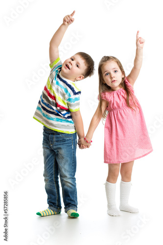 kids boy and girl showing something up