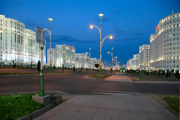 Night view of the new boulevard. Ashkhabad. Turkmenistan.