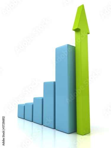 Business Growth Blue Bar Diagram with Green Arrow