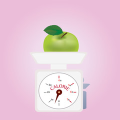 Weighing machine  with Low Calories. Balance with Apple