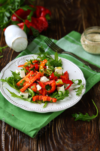 salad with fresh sweet peppers and feta