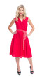 Blonde woman wearing red dress
