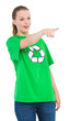 Shocked pretty environmental activist pointing something with he