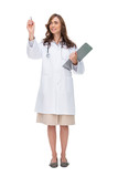 Brunette doctor holding clipboard and pointing at something