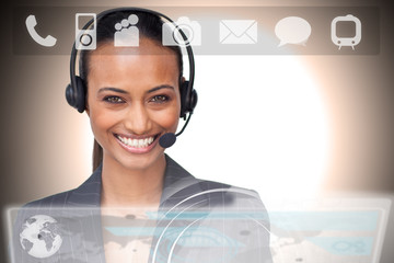 Beautiful smiling businesswoman using futuristic interface