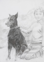 portrait of boy and his dog