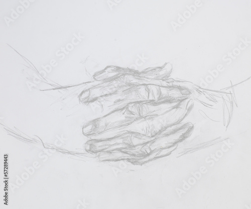 praying hands, drawing