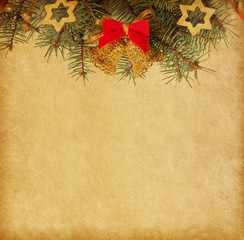 Beige paper background with Christmas border...