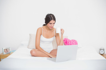 Focused young brown haired model in white pajamas using a laptop