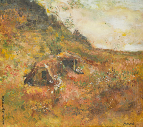 autumn rural landscape, oil painting