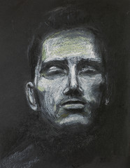 man with eyes closed, pastel drawing