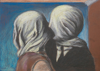 lovers kiss, pastel drawing reproduction