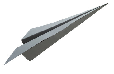 Origami gray paper airplane on white background