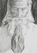 old man praying, pencil drawing