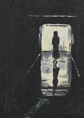 silhouette of a girl on a corridor