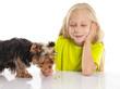 Quadro Little cute girl feeding her dog