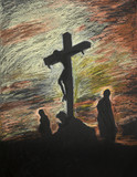 Jesus crucified on Golgotha, pastel technique