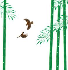 雪持ち竹とスズメ