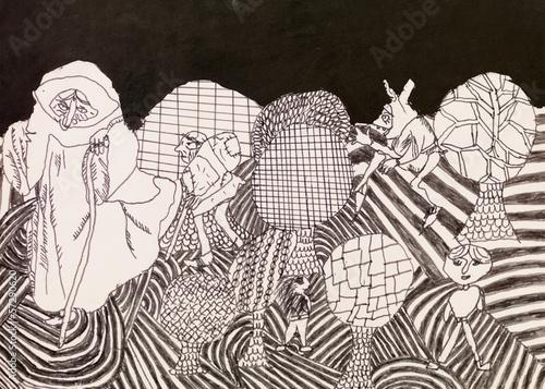 psychedelic characters, doodle © shotsstudio