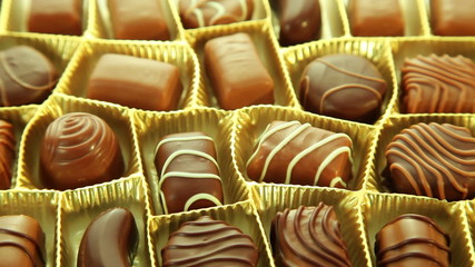 Chocolates box, tasty pralines background