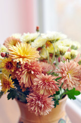 Beautiful autumn bouquet of chrysanthemums