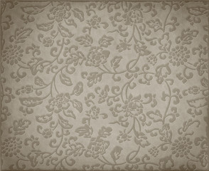 Vintage grey floral background, leather texture