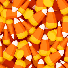 Seamless background with candy corn. Vector illustration.