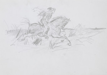 man riding horse, pencil drawing