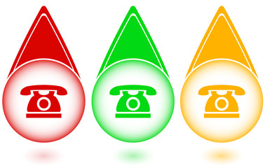 set green, red and yellow button with phone