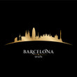 Barcelona Spain city skyline silhouette black background