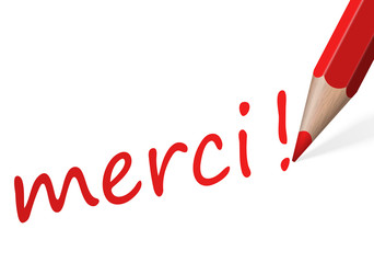 "Stift mit Text "" merci! """