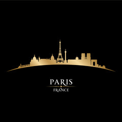 Paris France city skyline silhouette black background