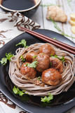teriyaki meat balls with soba