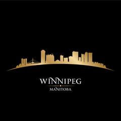 Winnipeg Manitoba Canada city skyline silhouette black backgroun