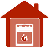 red icon with gas stove in home silhouette
