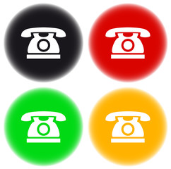 set of colorful button with phone silhouette