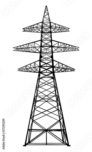 Power transmission tower. Isolated on white. Vector EPS10.