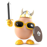 Viking Egg raises his sword