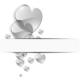 Glass heart on white background - Vector illustration.