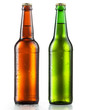 canvas print picture - Bottles of beer with water drops on white background