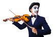 Man with face mask playing violin
