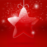 Christmas background with glass star - vector illustration