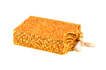 indian silk sack for tea isolated on white