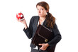 Woman businesswoman with piggybank on white